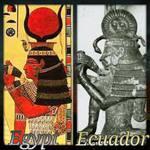 Esta figura de la coleciión Crespi, es cláramente igual que un grabado egipcio, como en casi todo, la serpiente arriba del todo, en este caso integrada al Sol Central.
