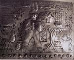 """Esta placa es para darle de comer aparte, ¡Tiene de todo!, Por abreviar, me llama la atención los dos personajes con """"delantales"""" sumerios y el elefante de la parte superior, aunque, de la colección Crespi, tambien es sobradamente conocida una Piedra grab"""